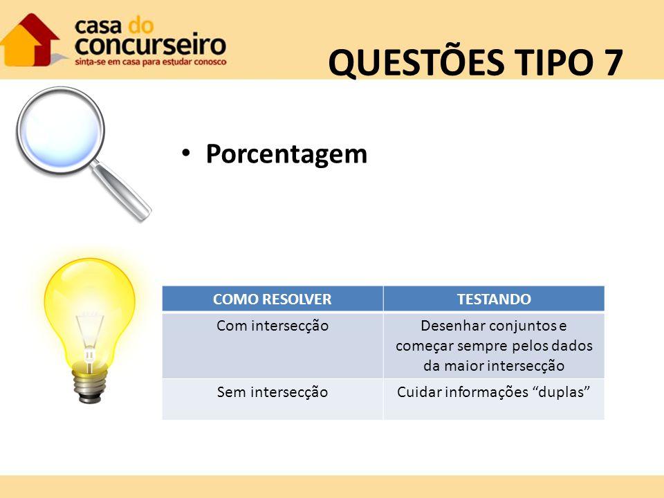 QUESTÕES TIPO 7 Porcentagem COMO RESOLVER TESTANDO Com intersecção