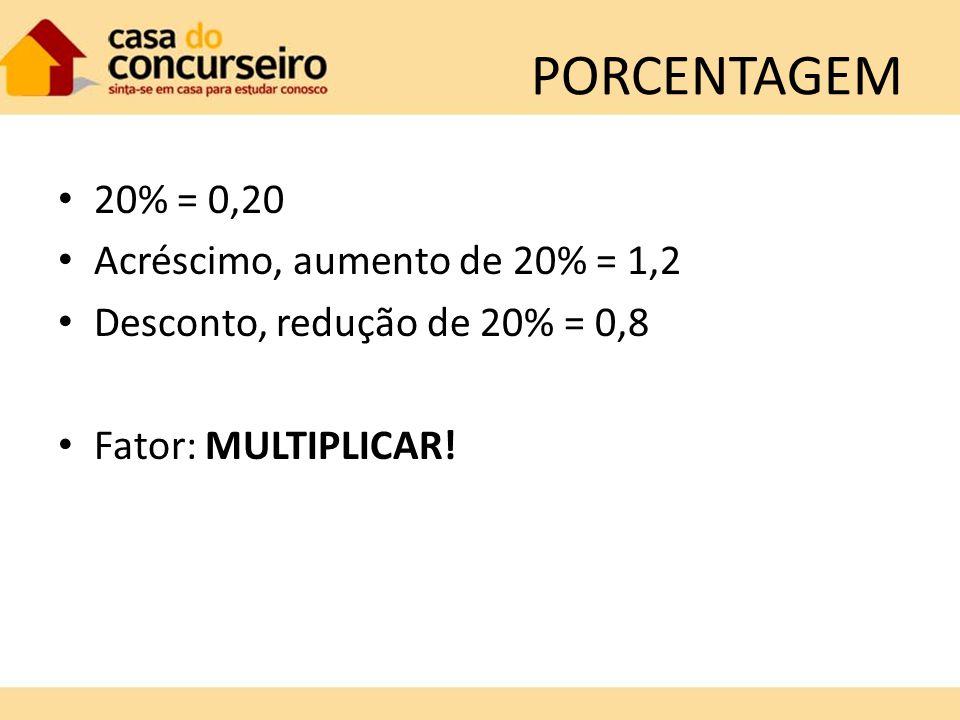 PORCENTAGEM 20% = 0,20 Acréscimo, aumento de 20% = 1,2