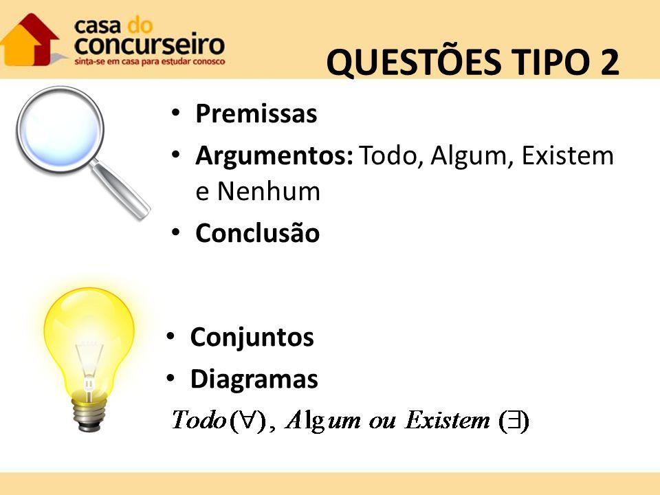 QUESTÕES TIPO 2 Premissas Argumentos: Todo, Algum, Existem e Nenhum