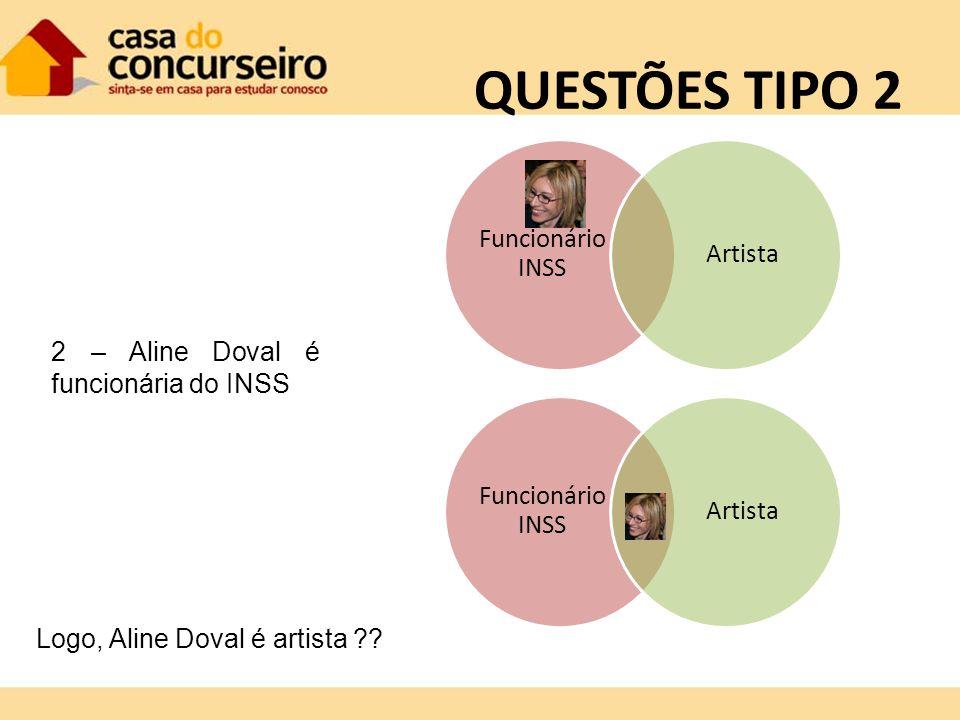 QUESTÕES TIPO 2 Funcionário INSS Artista Funcionário INSS Artista