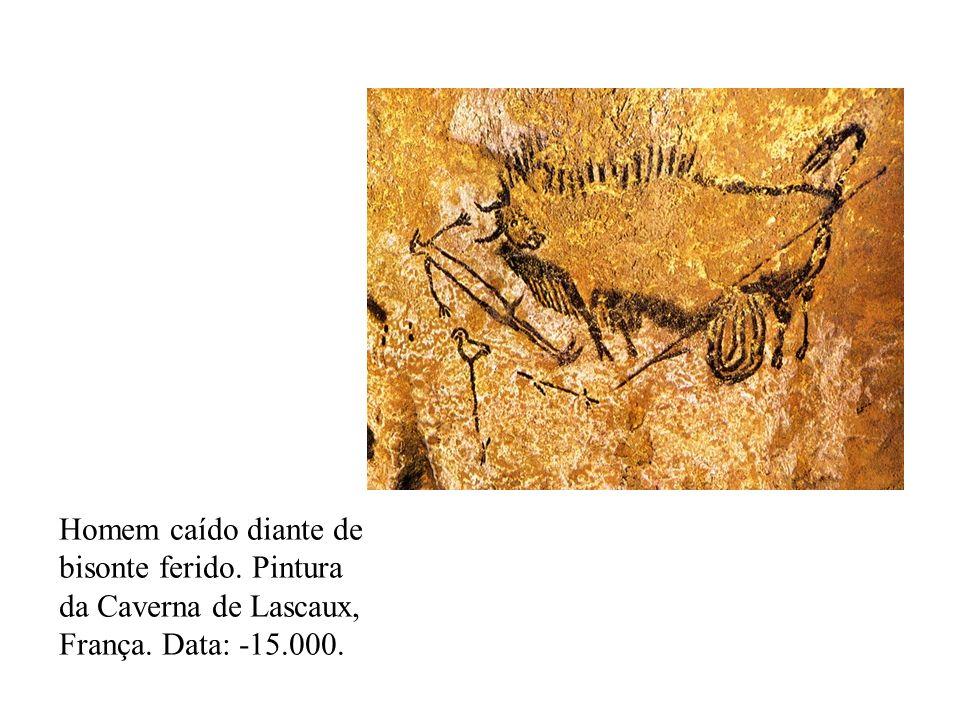 Homem caído diante de bisonte ferido. Pintura da Caverna de Lascaux, França. Data: -15.000.