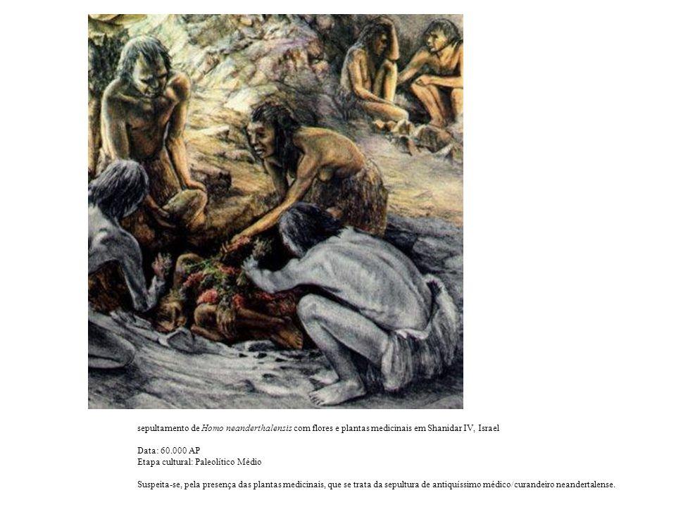 sepultamento de Homo neanderthalensis com flores e plantas medicinais em Shanidar IV, Israel Data: 60.000 AP Etapa cultural: Paleolítico Médio Suspeita-se, pela presença das plantas medicinais, que se trata da sepultura de antiquíssimo médico/curandeiro neandertalense.