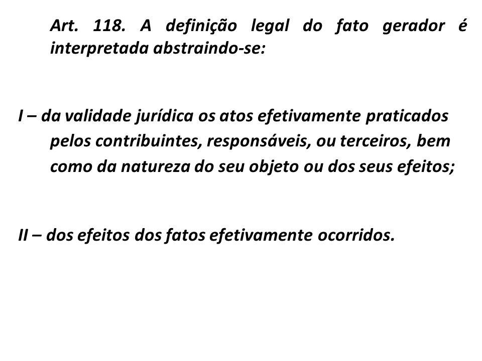 Art. 118. A definição legal do fato gerador é interpretada abstraindo-se: