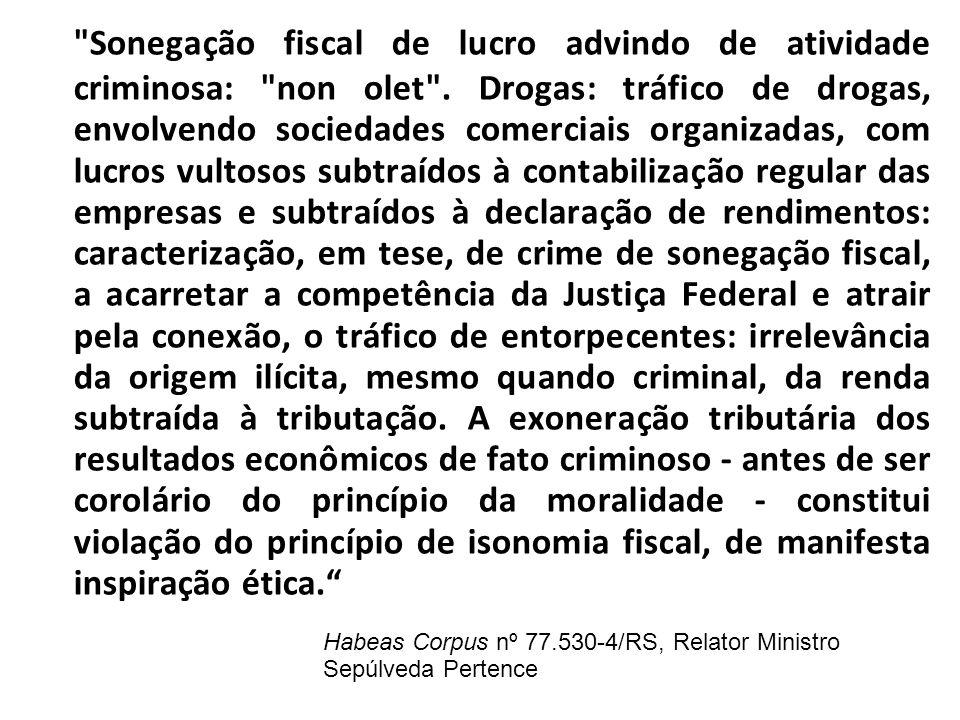 Sonegação fiscal de lucro advindo de atividade criminosa: non olet
