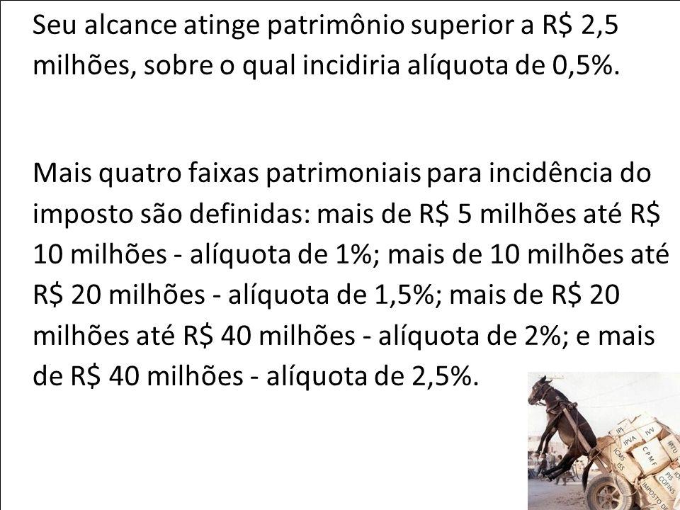 Seu alcance atinge patrimônio superior a R$ 2,5 milhões, sobre o qual incidiria alíquota de 0,5%.
