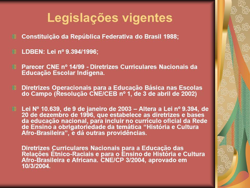 Legislações vigentes Constituição da República Federativa do Brasil 1988; LDBEN: Lei nº 9.394/1996;