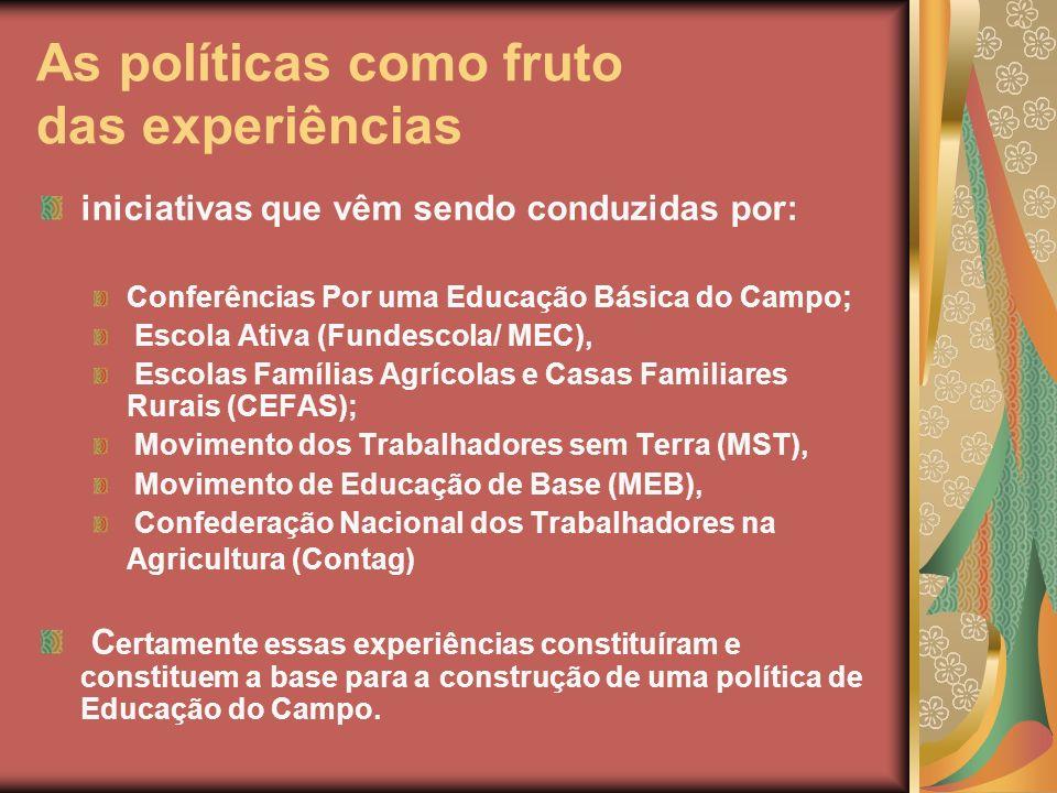 As políticas como fruto das experiências