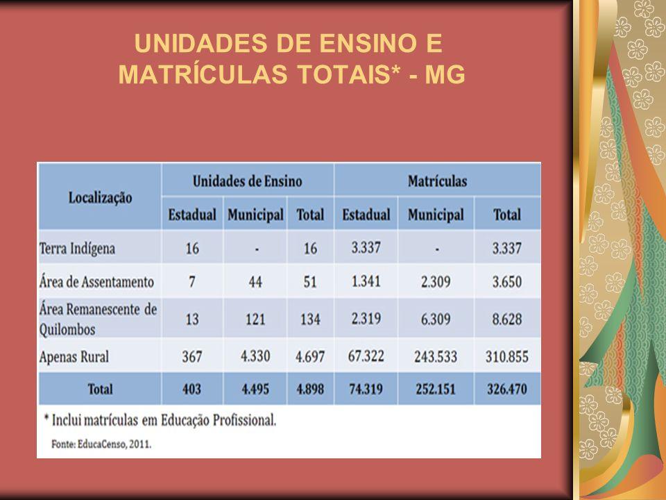 UNIDADES DE ENSINO E MATRÍCULAS TOTAIS* - MG