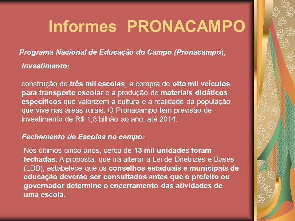 Informes PRONACAMPO Programa Nacional de Educação do Campo (Pronacampo), Investimento:
