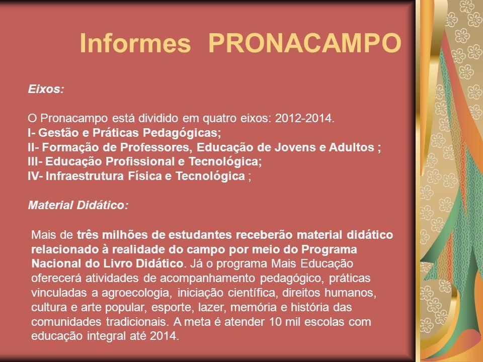 Informes PRONACAMPO Eixos:
