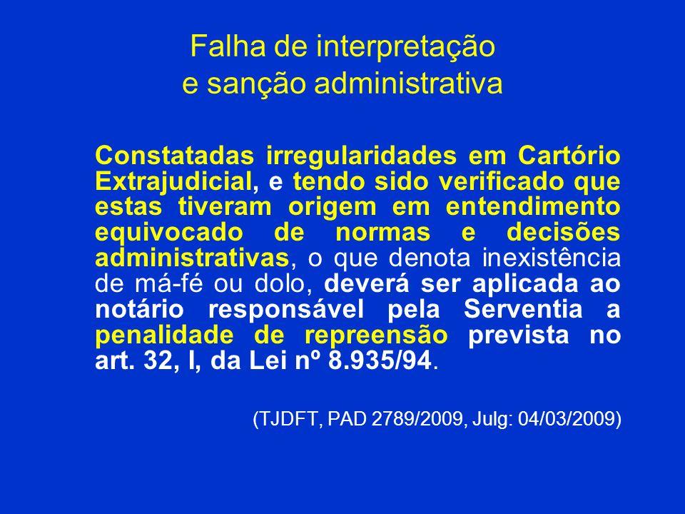 Falha de interpretação e sanção administrativa