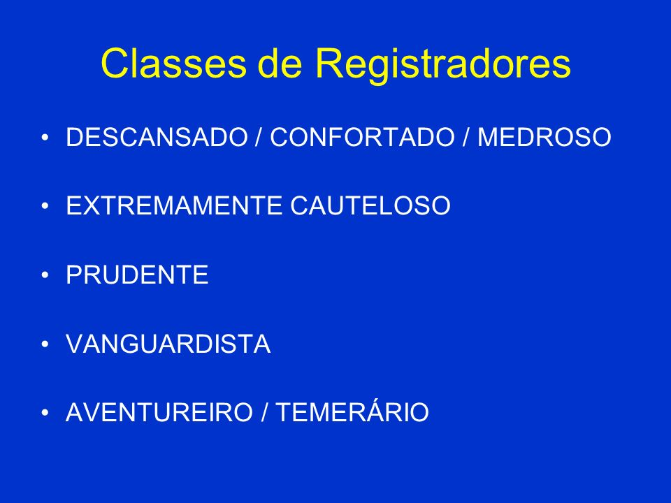Classes de Registradores