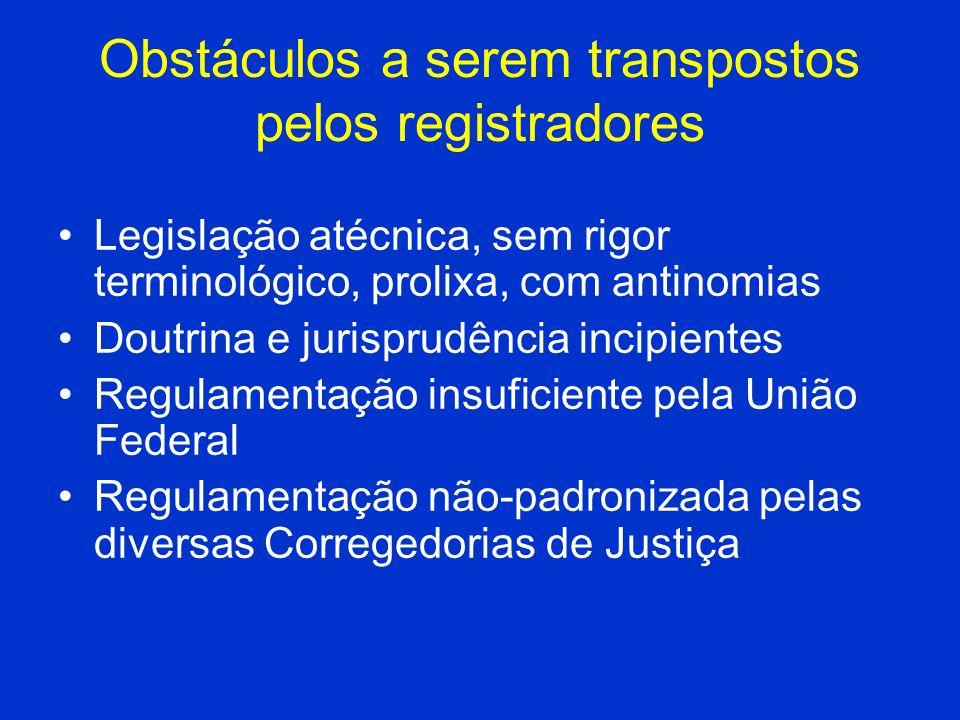 Obstáculos a serem transpostos pelos registradores