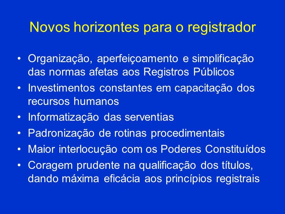 Novos horizontes para o registrador