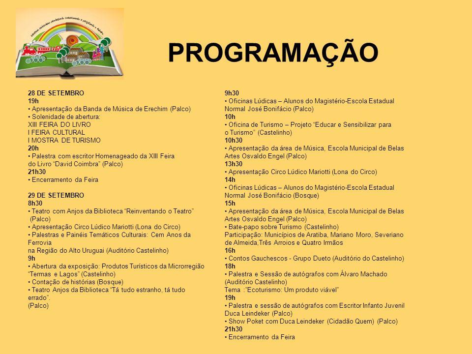 PROGRAMAÇÃO 28 DE SETEMBRO 19h