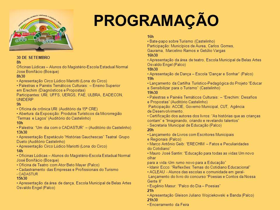PROGRAMAÇÃO 16h • Bate-papo sobre Turismo (Castelinho)