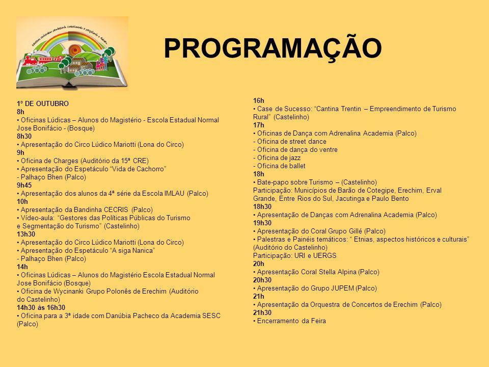 PROGRAMAÇÃO 16h 1º DE OUTUBRO