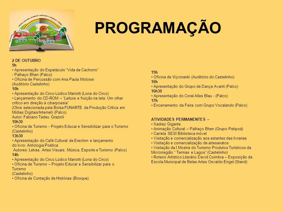PROGRAMAÇÃO 2 DE OUTUBRO 9h
