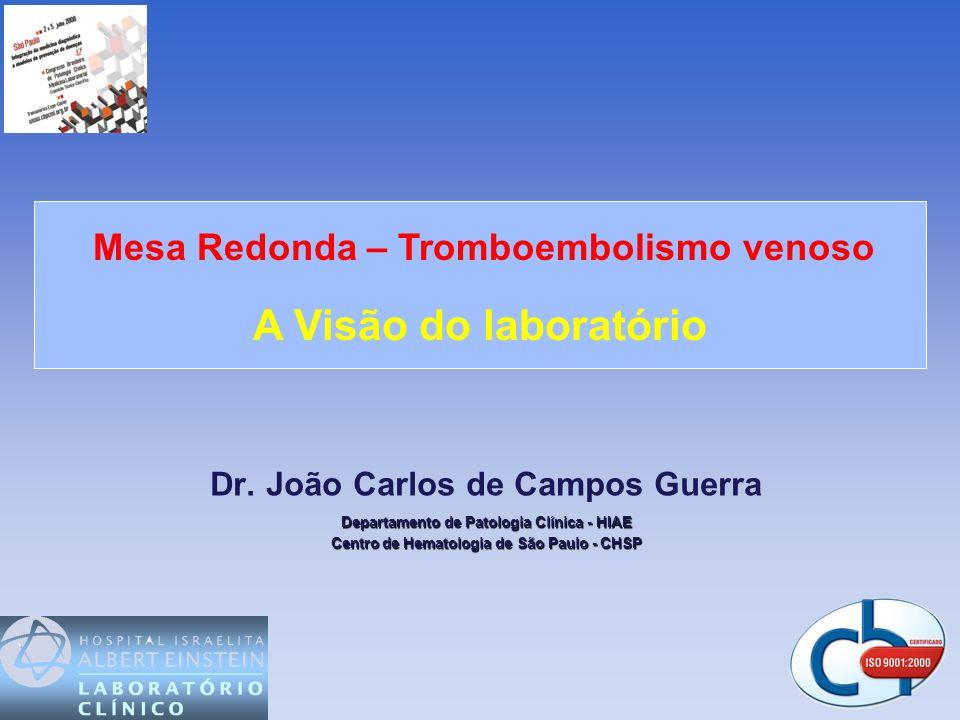 Mesa Redonda – Tromboembolismo venoso A Visão do laboratório
