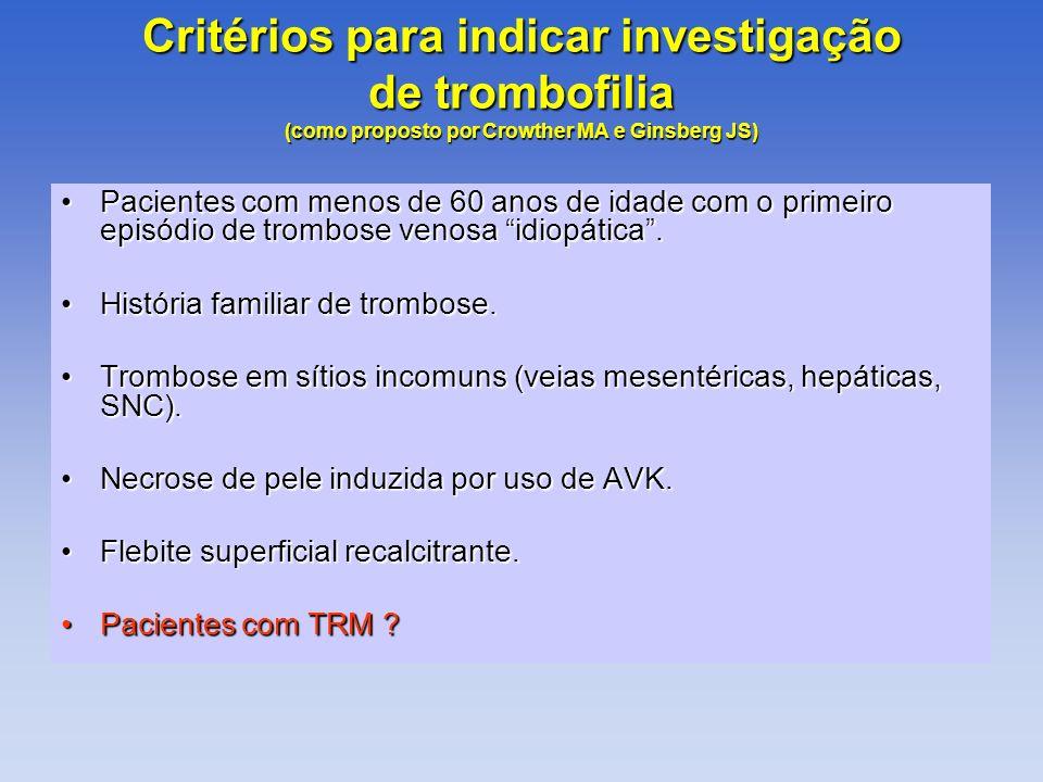 Critérios para indicar investigação de trombofilia (como proposto por Crowther MA e Ginsberg JS)
