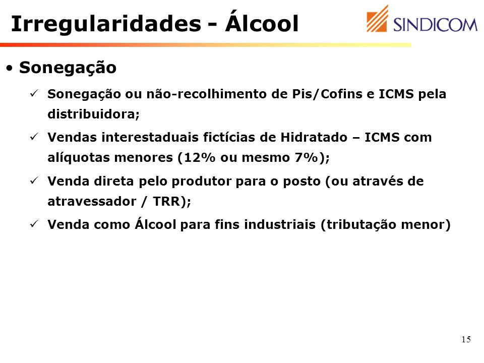 Irregularidades - Álcool