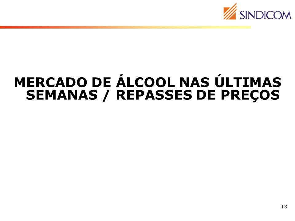 MERCADO DE ÁLCOOL NAS ÚLTIMAS SEMANAS / REPASSES DE PREÇOS