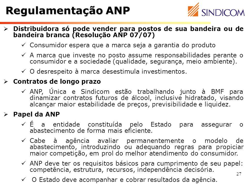 Regulamentação ANPDistribuidora só pode vender para postos de sua bandeira ou de bandeira branca (Resolução ANP 07/07)