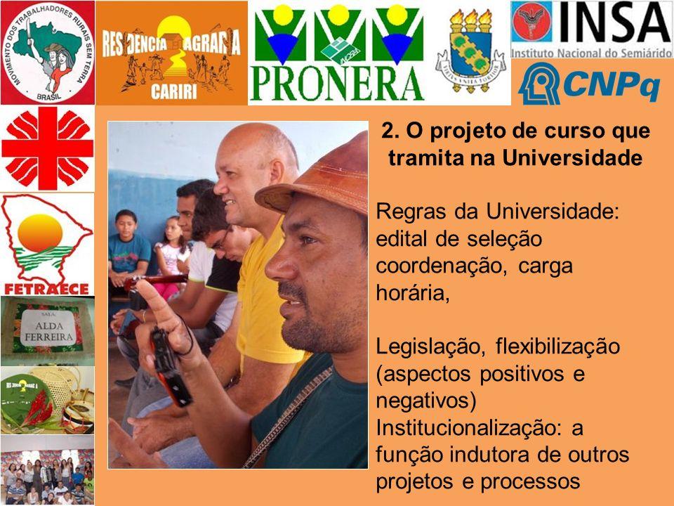 2. O projeto de curso que tramita na Universidade