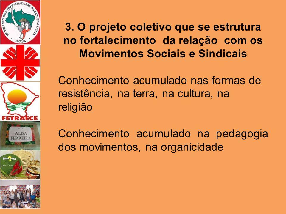 3. O projeto coletivo que se estrutura no fortalecimento da relação com os Movimentos Sociais e Sindicais