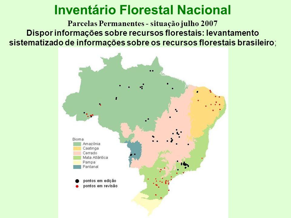 Inventário Florestal Nacional Parcelas Permanentes - situação julho 2007 Dispor informações sobre recursos florestais: levantamento sistematizado de informações sobre os recursos florestais brasileiro;
