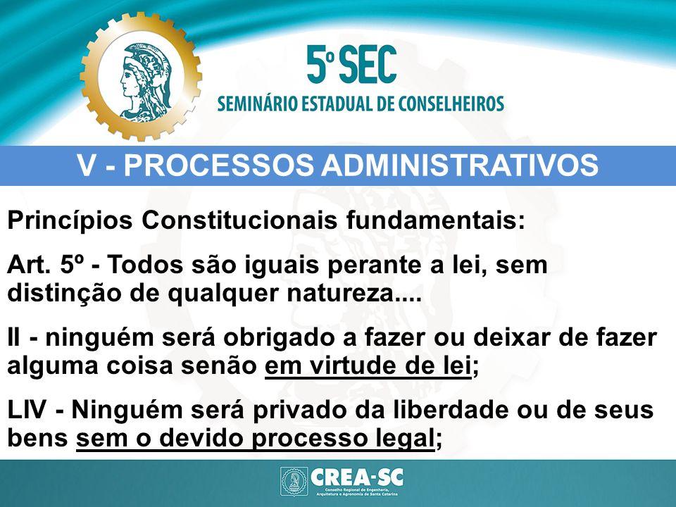 V - PROCESSOS ADMINISTRATIVOS