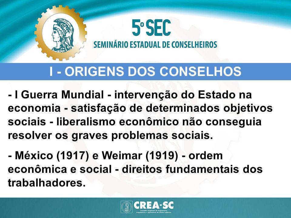 I - ORIGENS DOS CONSELHOS