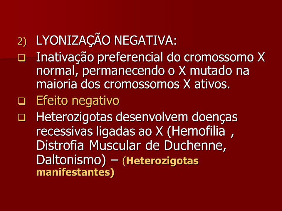 LYONIZAÇÃO NEGATIVA: Inativação preferencial do cromossomo X normal, permanecendo o X mutado na maioria dos cromossomos X ativos.