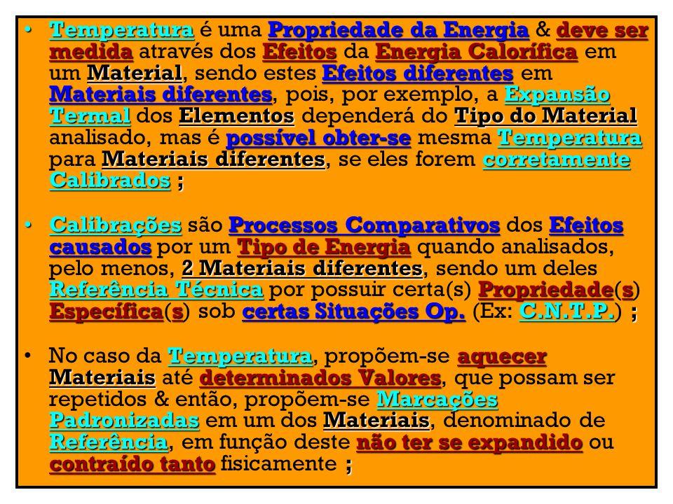 Temperatura é uma Propriedade da Energia & deve ser medida através dos Efeitos da Energia Calorífica em um Material, sendo estes Efeitos diferentes em Materiais diferentes, pois, por exemplo, a Expansão Termal dos Elementos dependerá do Tipo do Material analisado, mas é possível obter-se mesma Temperatura para Materiais diferentes, se eles forem corretamente Calibrados ;