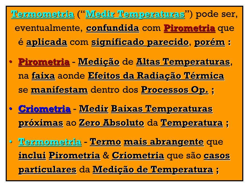 Termometria ( Medir Temperaturas ) pode ser,
