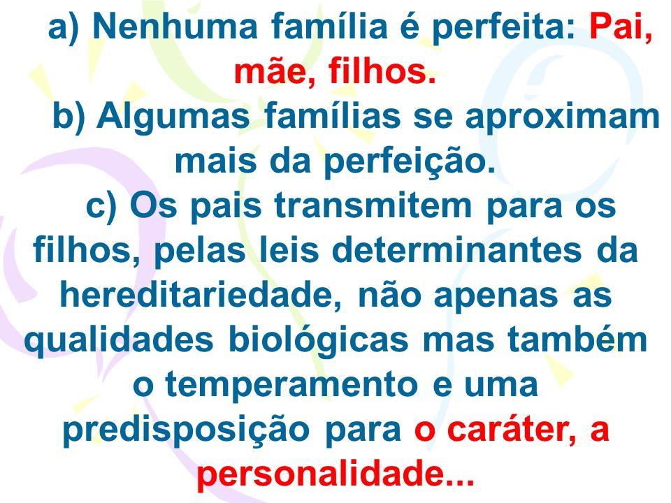 a) Nenhuma família é perfeita: Pai, mãe, filhos.