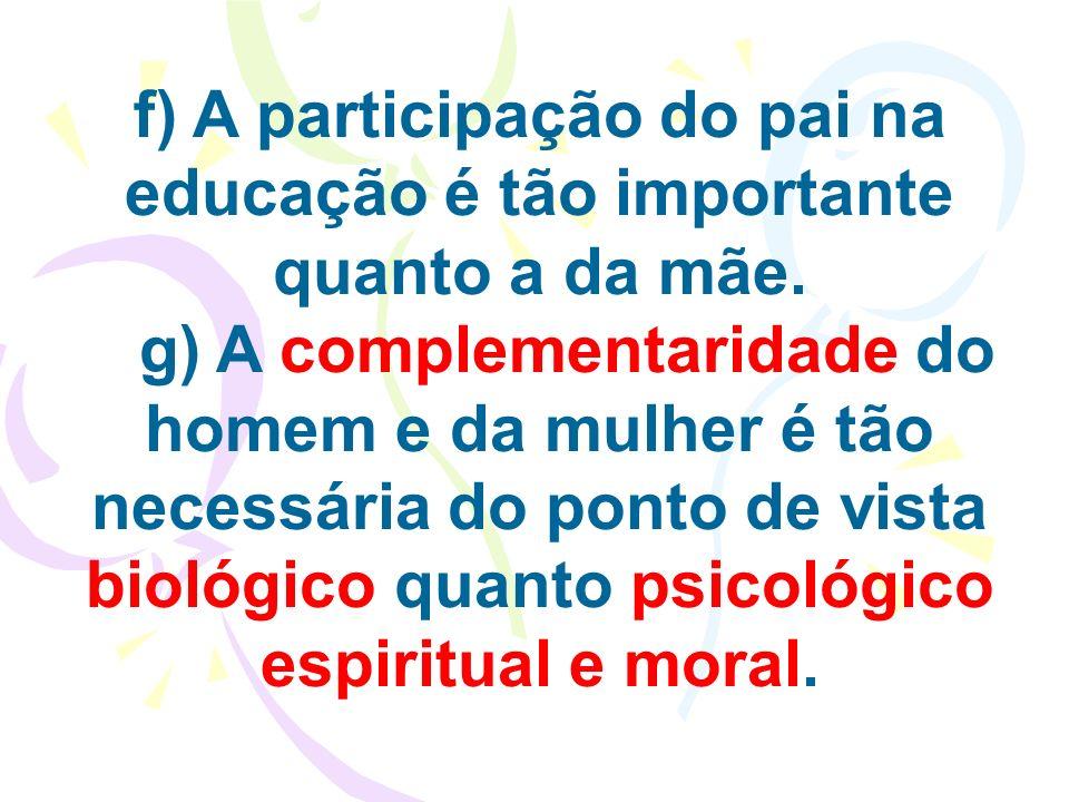 f) A participação do pai na educação é tão importante quanto a da mãe.