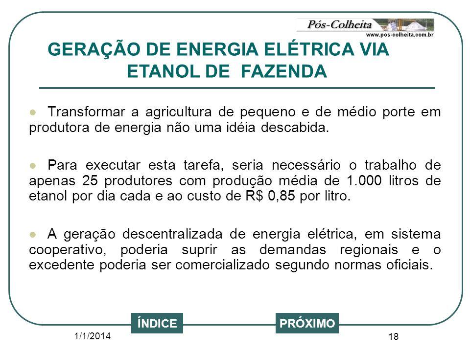 GERAÇÃO DE ENERGIA ELÉTRICA VIA ETANOL DE FAZENDA