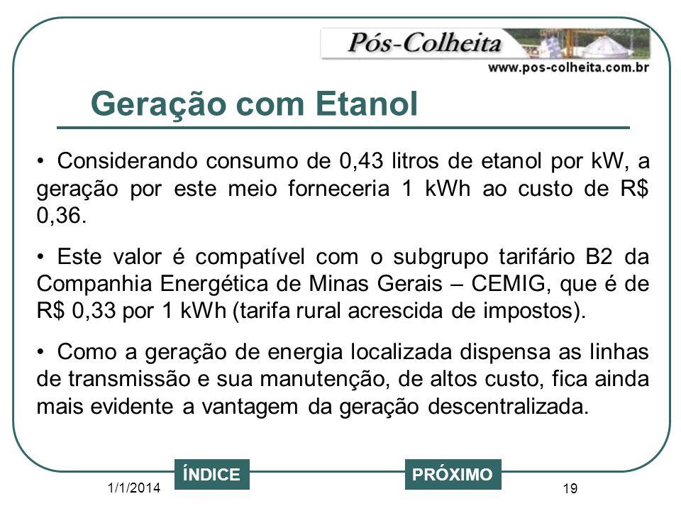 Geração com Etanol Considerando consumo de 0,43 litros de etanol por kW, a geração por este meio forneceria 1 kWh ao custo de R$ 0,36.