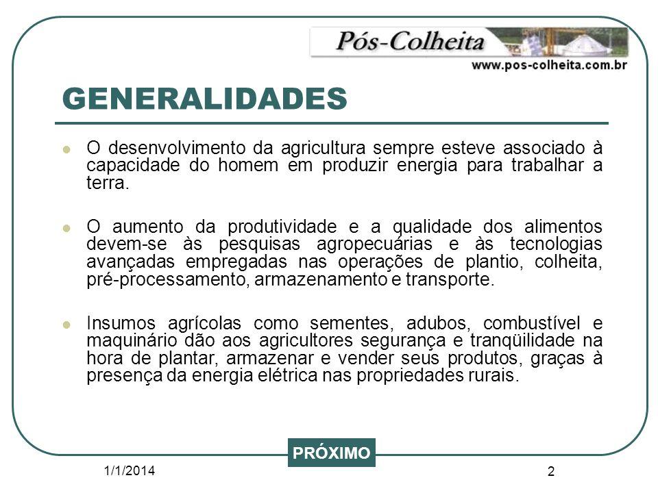 GENERALIDADES O desenvolvimento da agricultura sempre esteve associado à capacidade do homem em produzir energia para trabalhar a terra.