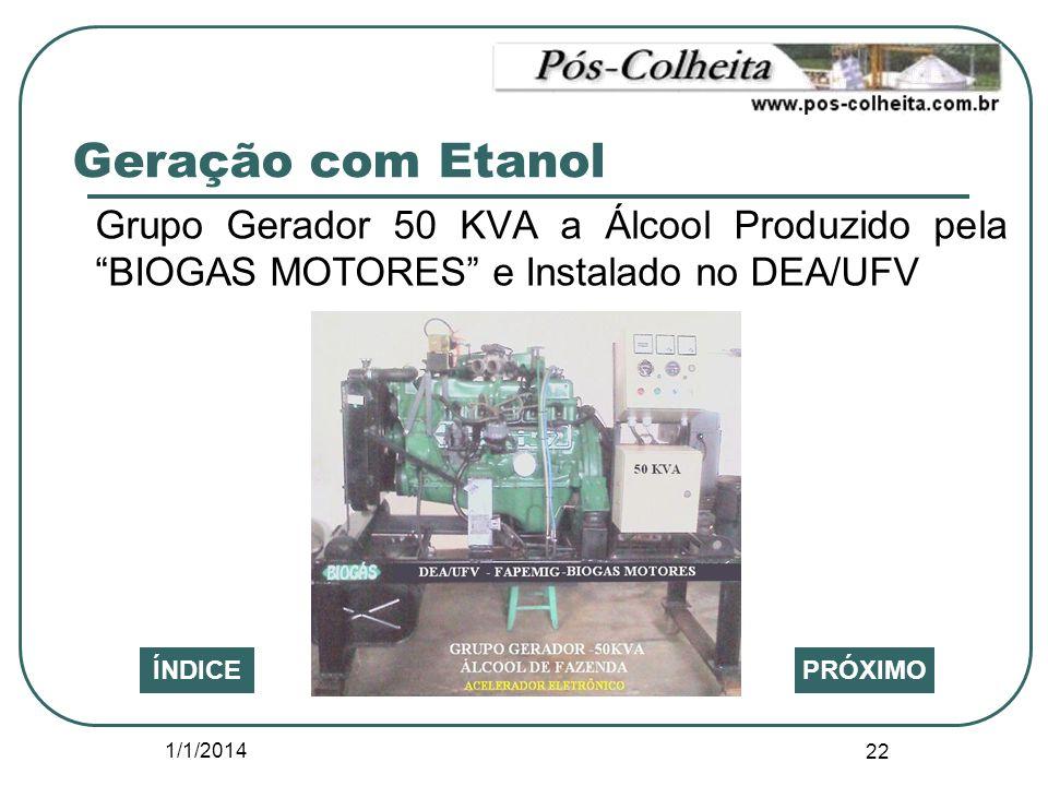 Geração com Etanol Grupo Gerador 50 KVA a Álcool Produzido pela BIOGAS MOTORES e Instalado no DEA/UFV.