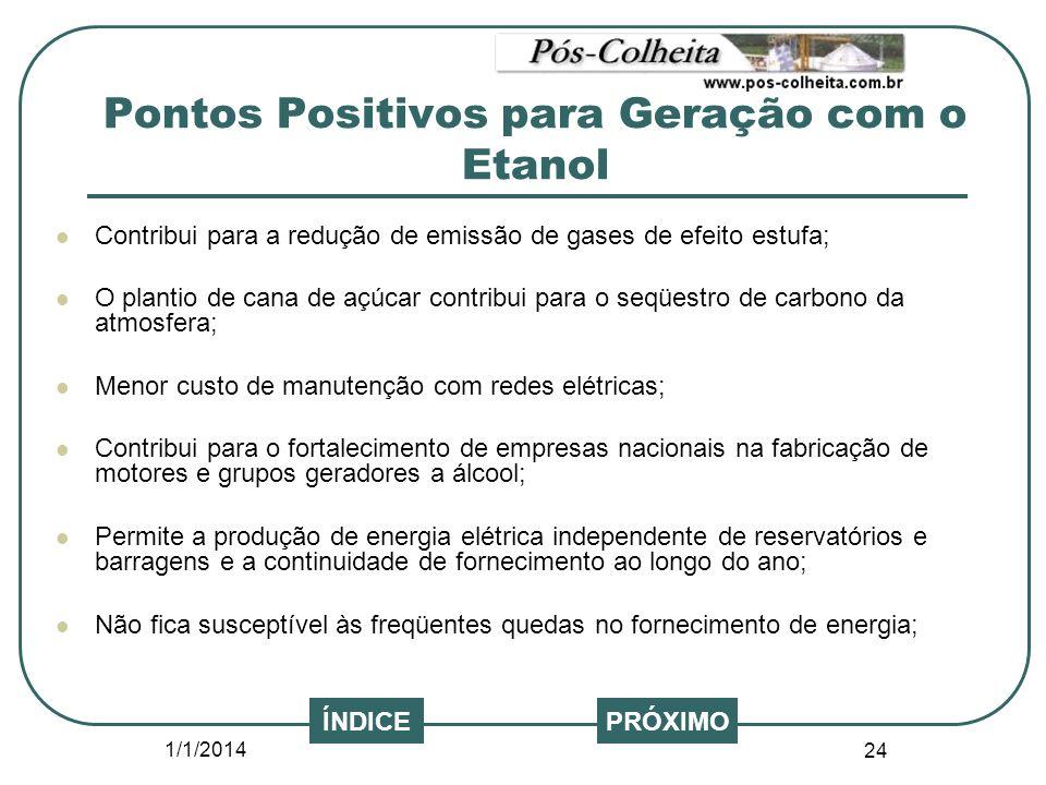 Pontos Positivos para Geração com o Etanol