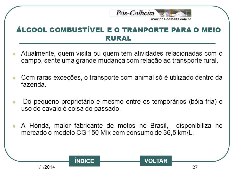 ÁLCOOL COMBUSTÍVEL E O TRANPORTE PARA O MEIO RURAL
