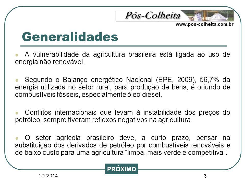 Generalidades A vulnerabilidade da agricultura brasileira está ligada ao uso de energia não renovável.