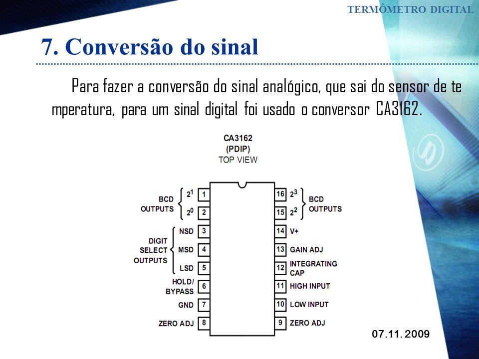 TERMÔMETRO DIGITAL 7. Conversão do sinal.