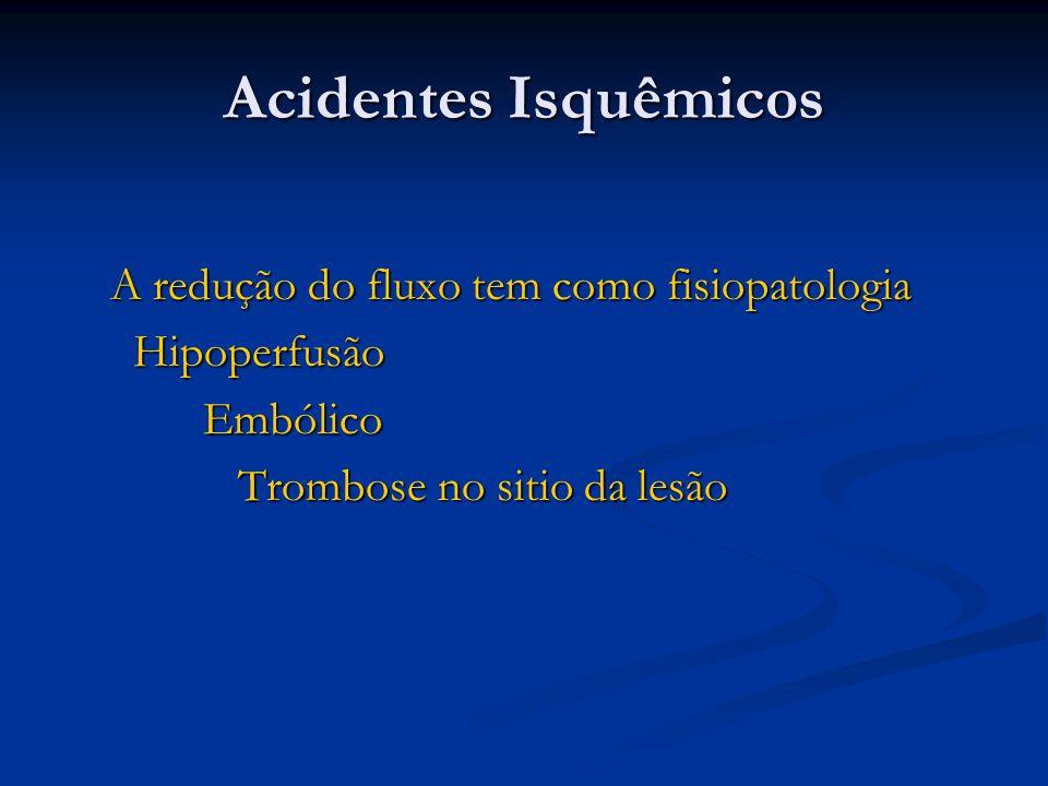 Acidentes Isquêmicos A redução do fluxo tem como fisiopatologia