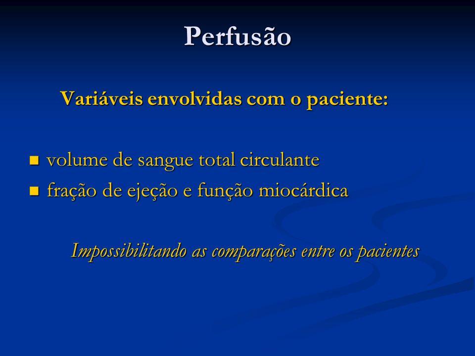 Perfusão Variáveis envolvidas com o paciente: