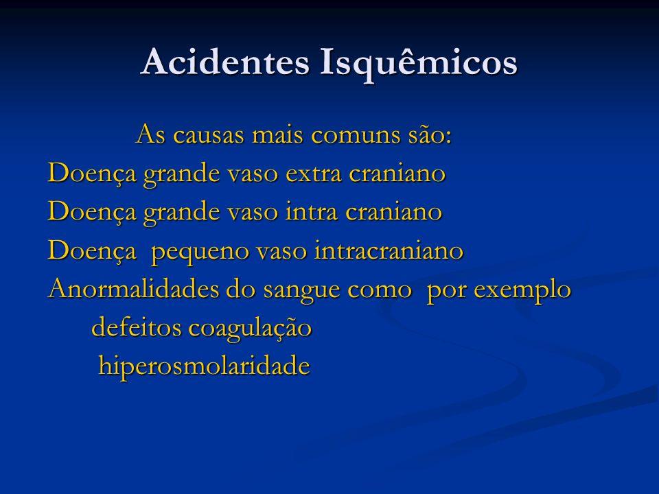 Acidentes Isquêmicos As causas mais comuns são: