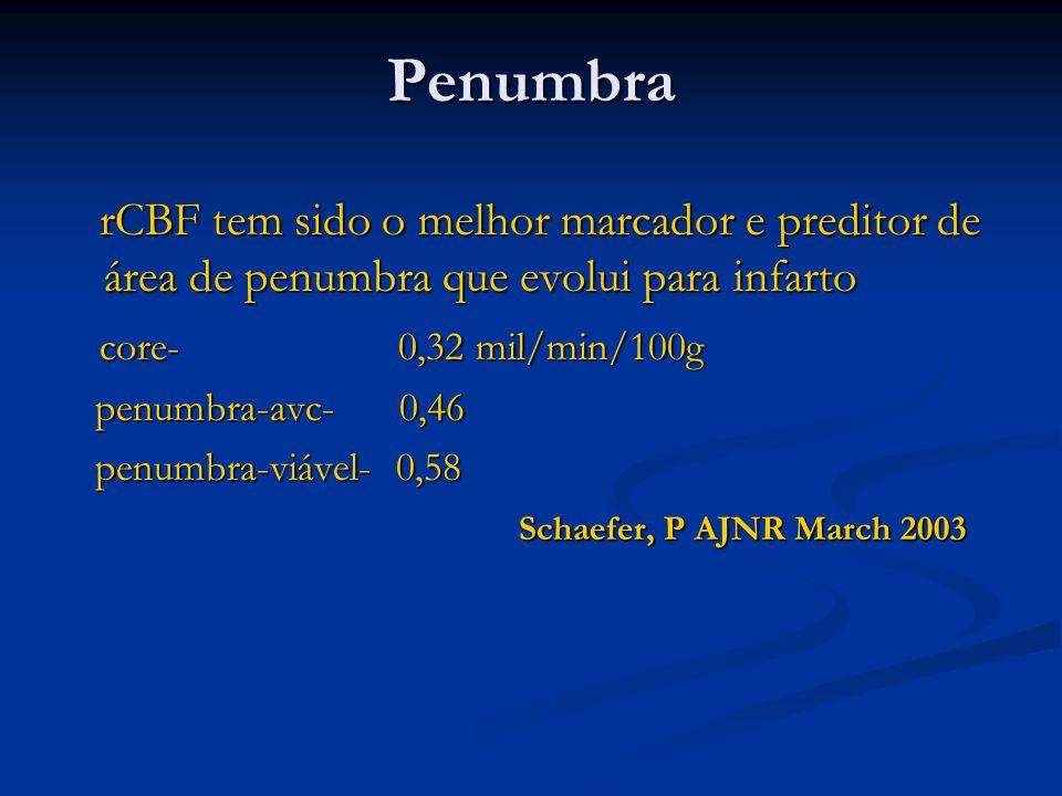 PenumbrarCBF tem sido o melhor marcador e preditor de área de penumbra que evolui para infarto. core- 0,32 mil/min/100g.