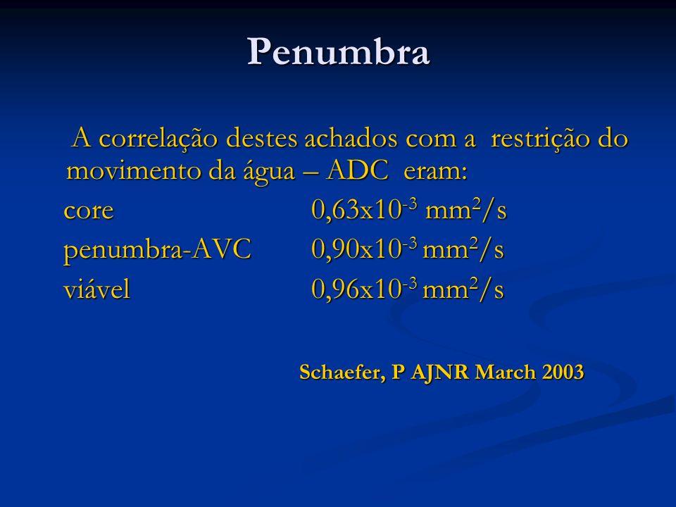 PenumbraA correlação destes achados com a restrição do movimento da água – ADC eram: core 0,63x10-3 mm2/s.